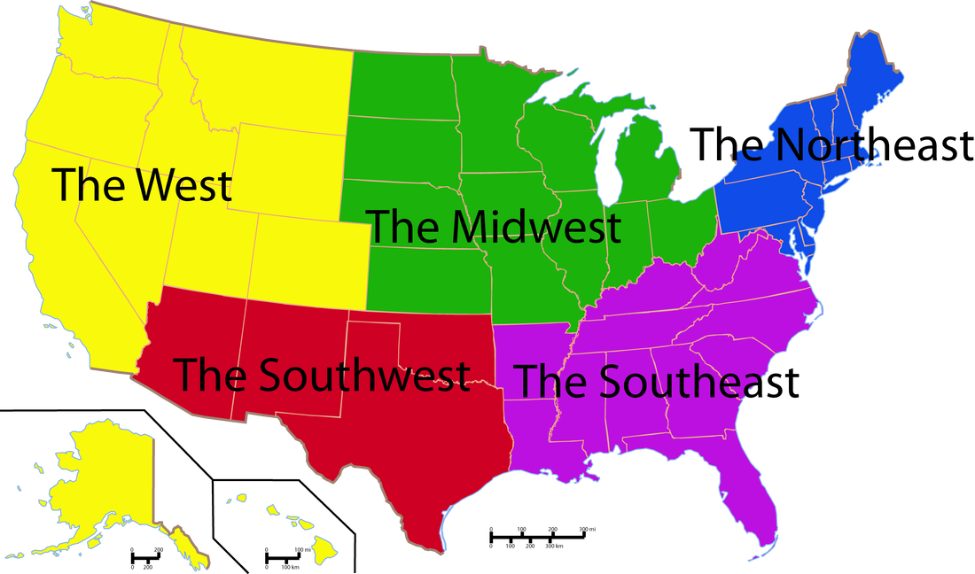 Webquest Regions Of The United States Home - 5 us regions map
